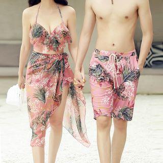 Candyseed - Couple Matching Flower Print Swim Trunks / Bikini Top / Swim Shorts / Cover Up / Set