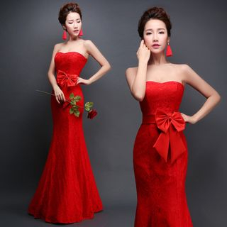 Sennyo - Strapless Bow-Accent Evening Dress