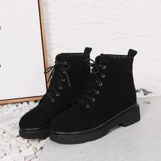 Megan - Platform Lace-Up Short Boots