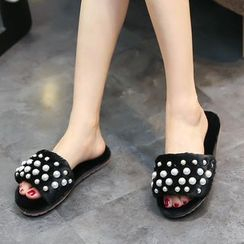 Mayaloka - Faux Pearl Furry Slide Sandals