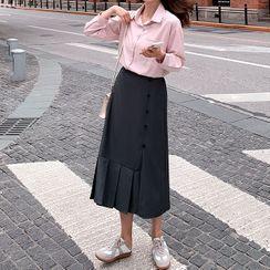 Leoom - Plaid Shirt / Asymmetric Pleated Midi A-Line Skirt