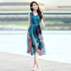 Coheat - Sleeveless Midi Floral Sundress