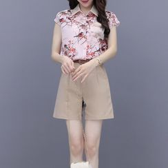 PERFASHIONIST - 套裝: 短袖碎花襯衫 + 短褲