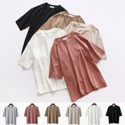 Kokuko - 短袖寬鬆圓領純色T恤