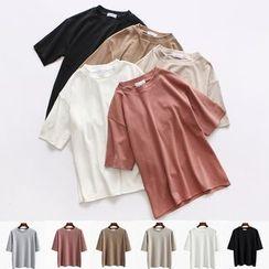 Kokuko - Short-Sleeve Loose-Fit Crewneck Plain T-Shirt