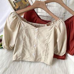 Kazarina - 短袖短款衬衫