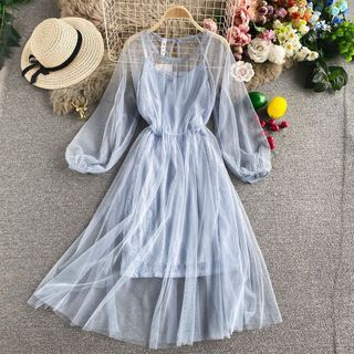 Yearnin - 套裝:蕾絲吊帶連衣裙 + 喇叭袖網紗連衣裙