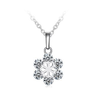 BELEC - Fashion Snowflake Pendant with White Austrian Element Crystal and Necklace