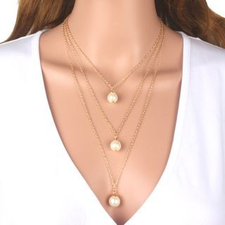 Gemsha - Layered Faux Pearl Necklace