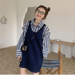 Tyssensuals - Striped Cutout Shirt / Sleeveless Denim Mini Dress
