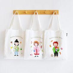 Andrade - 卡通印花帆布購物袋