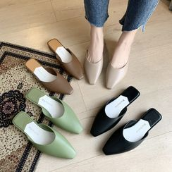 Asterisk - Block Heel Square Toe Mules