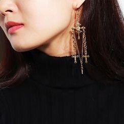 Seirios - Cross & Chain Chandelier Earrings