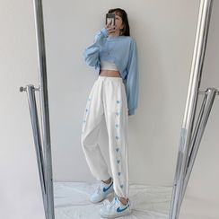 Yinyanna - Heart Embroidered Cropped Harem Pants