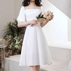 FullBloom - Elbow-Sleeve Square-Neck Midi A-Line Dress