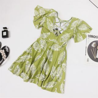 ASUMM - 短袖树叶印花泳裙