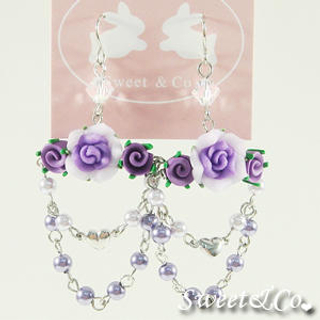 Sweet & Co.(スイートアンドカンパニー) - Sweet Purple Candy Chandelier Rose Earrings