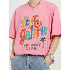 FAERIS - Elbow-Sleeve Lettering T-Shirt