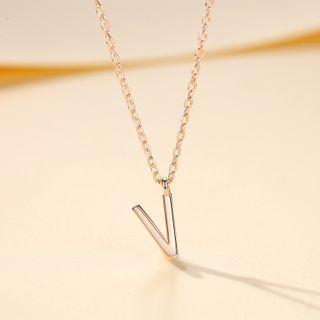 BURMASTIN(バーマスティン) - 925 Sterling Silver Letter V Pendant Necklace