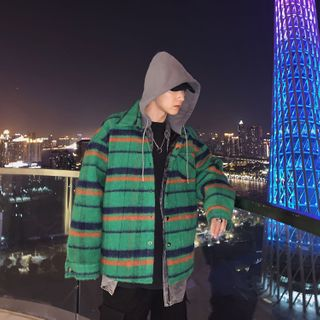LOOKUN - Plaid Hooded Padded Jacket