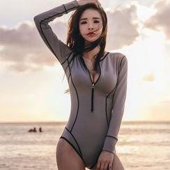 Oceanid - 配色边长袖泳装