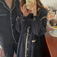 Essere - Couple Matching Dotted Pajama Shirt / Pants / Dress / Set