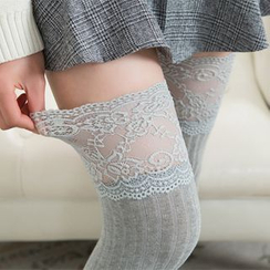 Shaman - Lace Trim Over-the-Knee Socks