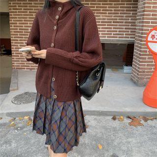ZENME - Plain Cardigan / Plaid Pleated Mini Skirt