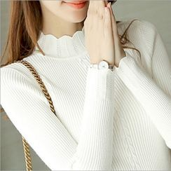 Renara - Scallop Trim Long-Sleeve Knit Top