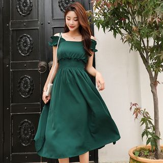 Sienne - Ruffle Trim Sleeveless A-line Midi Dress
