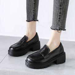 Moonwalk - Faux Leather Platform Loafers