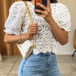 LIPHOP - See-Through Cropped Crochet-Knit Top