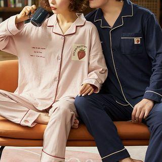 Jeony - Loungewear Set : Couple Matching Print Long-Sleeve Top + Pants