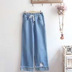 akigogo - Embroidered Drawstring Straight-Fit Jeans