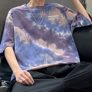 Really Point - Dye Print Elbow-Sleeve T-Shirt