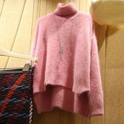 Kaypray - Fluffy Turtleneck Dipback Sweater