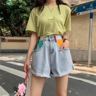 JIUHOJI - Paneled Wide-Leg Denim Shorts