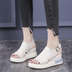 Artiz - Platform Wedge Heel Buckled Sandals