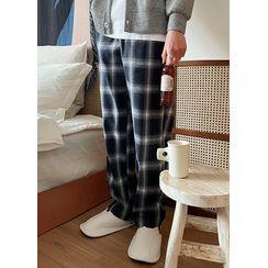 JOGUNSHOP(ジョグンショップ) - Drawstring-Waist Plaid Wide-Leg Pants