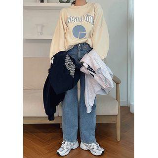 chuu - Letter Print Oversize Sweatshirt