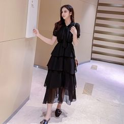 Yilda - Short-Sleeve Ruffled Midi A-Line Chiffon Dress