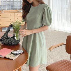 Cherryville - Puff-Sleeve A-Line Dress