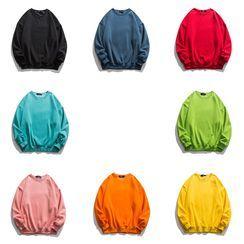 JUN.LEE - Round Neck Plain Oversized Sweatshirt