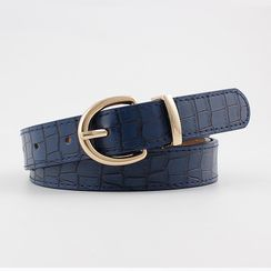Leatha - Crocodile Grain Faux Leather Belt