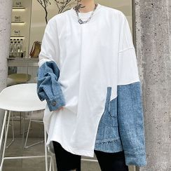 Lamow - Long-Sleeve Denim Panel Sweatshirt