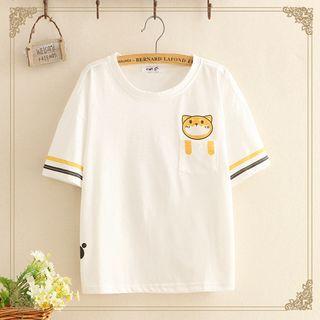 Kawaii Fairyland - Dog Print Short-Sleeve Top