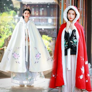 Tangier - Floral Embroidered Fluffy Trim Hoode Cape