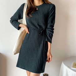 Envy Look - Crew-Neck Rib-Knit Dress with Sash