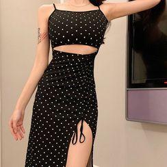 Maine - Spaghetti Strap Dotted Cutout Drawstring A-Line Dress