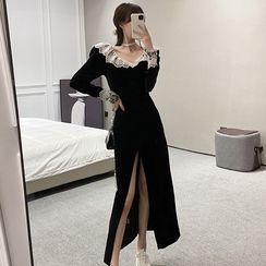 Jeans Kingdom - Long-Sleeve Lace Detail A-Line Dress